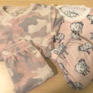 P.J. Salvage Girls Pajamas- 2 Pairs, Sz 4 and 4T
